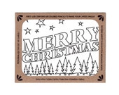 Set of Six Color-In Christmas Cards for Kids