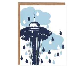 Seattle Rain -- Blank Screenprinted Card