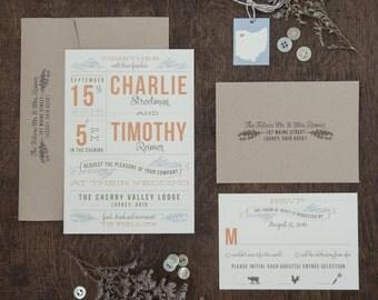 Lavender Wedding Invitation, Country Wedding Invitation, state invitation, rustic wedding DEPOSIT