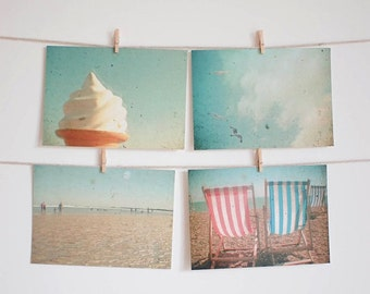 SALE 25% OFF Postcard Set, Beach Photography, Seaside Art, Bird Photo, Deck Chairs, Affordable Art - The Sea