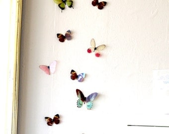 15 3D Rainbow Butterfly wall Art made with plastic