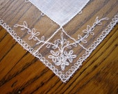 Antique Wedding Handkerchief, Vintage Wedding Handkerchief, Lace Handkerchief, Tambour Lace Handkerchief, French Net Lace Handkerchief