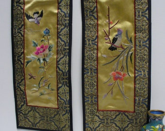 Pair of Vintage Small Chinese Silk Panels