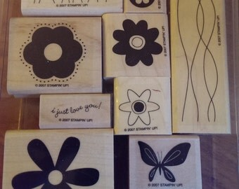 Stampin Up - Set of 9 - Just Like You - Flower - Butterfly