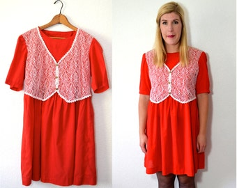 20 DOLLAR SUPER SALE! Little Red Dress - Red Babydoll Dress - Short Red Dress - Red Lace Dress