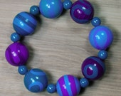 Hand-painted Wooden Bead Bracelet - Teal - Turquoise - Purple - Elasticated