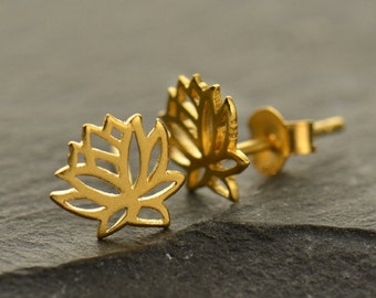 Renge Earrings  - 24k Gold Plated Sterling Silver Vermeil Lotus Flower Posts - Insurance Included