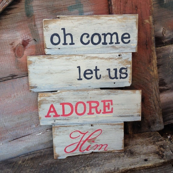 Oh Come Let Us Adore Him Wood Signs Christmas Signs Wood: Christmas Wall Decor Oh Come Let Us Adore Him Hand Painted