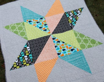 Modern Baby Quilt - FREE SHIPPING - Giant Star Quilt - Baby Boy Crib Quilt - Green Aqua Orange Gray Black Whales guitars