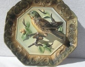 Vintage Collectors Wall Hanging Plate With Birds in Relief 3D Napcoware