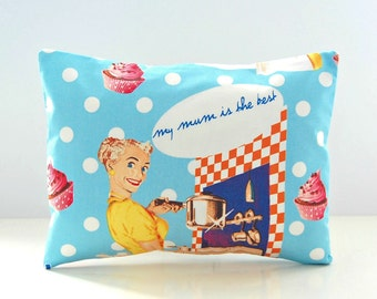 retro lumbar mum decorative pillow cover pink cup cakes,  blue white polka dot mother cushion cover 12 x 16 inch