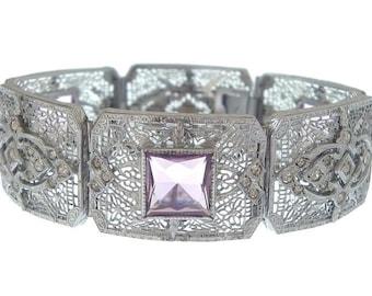 Amethyst Bracelet, Art Deco Filigree Bangle, Antique Cuff, Vintage JJ White Helgen Designer, 1920 Bridal Statement Jewelry, Wedding Jewelry