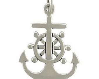 Anchor Sterling Silver Charm -- Complimentary Ribbon or Cord