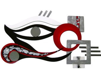 New Abstract Eye Wood with Metal Wall Sculpture, unique modern wall decor for home or office