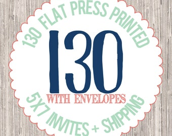 130 - 5x7 Flat Press Printed Cards with envelopes : PRINTING SERVICES