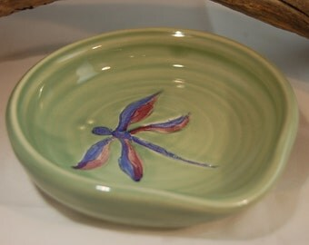 Pottery Dragon Fly Spoon Rest Hand Painted Underglaze And Light Celedon Green Glaze