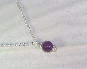Gemstone Birthstone Necklace - Sterling Silver Filled Necklace - Amethyst Shown