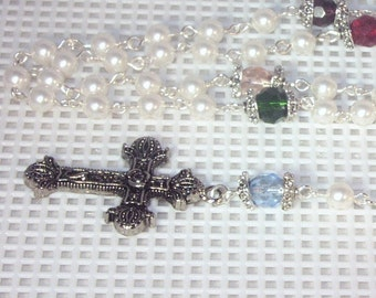 Swarovski Pearl Family/Birthstone/Mother/Grandmother Rosary - Made to Order - SHIPS WITHIN 24 Hrs