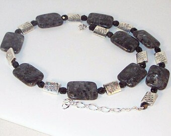 Labradorite and Jet Crystal Necklace