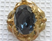 Ornate Pendant with Midnight Blue Glass Stone SALE PRICE