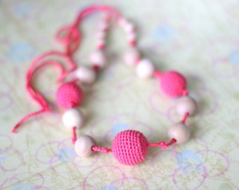 Pink, teether, Teething necklace, Nursing necklace, teething toy, Baby shower gift, wooden teether