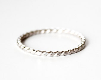Ring - Sterling Silver Rope Twist Ring - Stacking Rings - Twisted Silver Ring - Promise Ring - Thin Wedding Band - Friendship - Stacker Ring