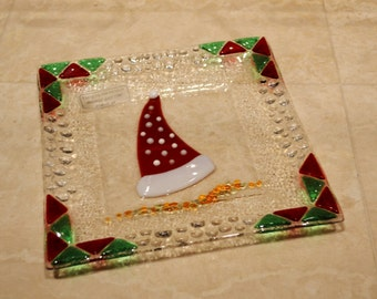 Christmas hat glass fused plate by YafitGlass