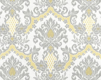 "Grey Yellow Window Curtains, Modern Ikat Damask Drapes, Elegant Drapery Panels, Soft Yellow Home Decor, Custom Rod Pocket, One Pair 50""W"