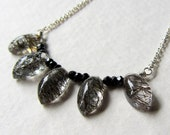 Black Spinel and Rutilated Quartz Gemstone Bar Necklace - Sterling Silver Jewelry - Clear and Black Gems