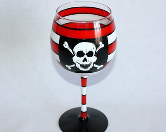 Pirate wine glass hand painted, nautical