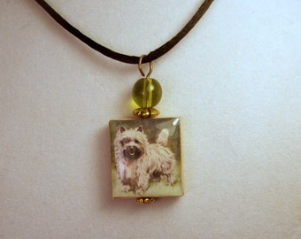 CAIRN Terrier Jewelry / Scrabble Pendant with Satin Cord