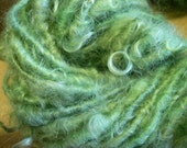 Handspun Corespun Hand Dyed Curly Soft Mohair Embellishment  Bulky Art Yarn in Green by KnoxFarmFiber for Knitting Crochet Weave