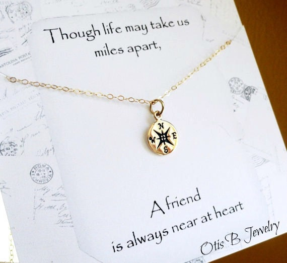 Nice Wedding Gift Message : ... message card, Best friend gift,compass charm, Bridesmaid gift, best