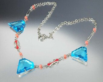 Czech Art Deco Necklace, Aquamarine Necklace, Silver Coral Enamel Czech Glass Beads, Vintage 1930s Art Deco Jewelry, Antique Jewelry