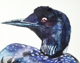 "Watercolor Painting, original painting, loon, bird, 5""x7"""