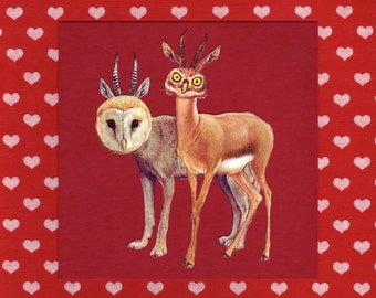 The Odd Couple - Valentine's Day Gift - Animal Art Print