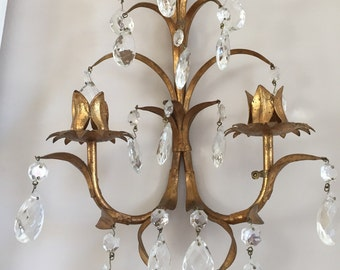 Italian Tole Wall Sconce with Cut Crystal Droplets - Paris Decor - French