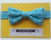 Tiny Dapper Childrens BOW TIE Boys Necktie Turquoise Aqua Green Modernist Check Little Gent with Custom options