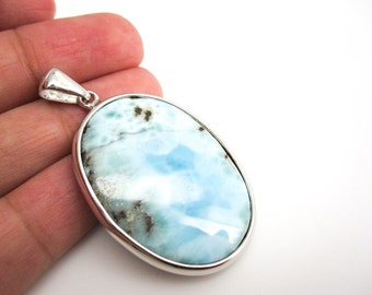 Larimar Pendant, Blue Larimar, Blue Larimar Pendant, Oval Larimar Stone, Sterling Silver, Blue Dominican Larimar, SKU 3884A
