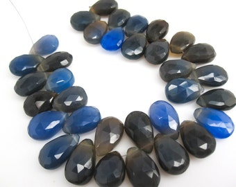 Blue Chalcedony Beads Briolettes, Chalcedony Beads, Cobalt Blue, Pear, SKU 2968