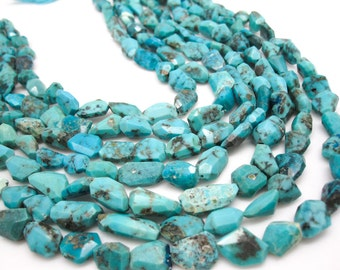 Blue Turquoise Beads, Natural Turquoise, Faceted Free form Nuggets, Full Strand, Loveofjewelry, SKU 4280A