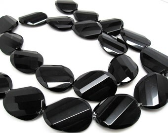 Onyx Beads, Black Onyx Beads, Faceted Ovals, SKU 4294A