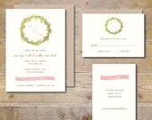 Wedding Invitation Template, Printable, DIY Wedding Invitation, Watercolor Wedding Invitations, Roses, PDF, JPEG, Digital Invitation -Wreath