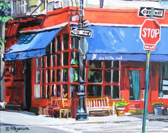 NYC Painting New York Art Little Owl, Cafe Greenwich Village Wall Decor Print red and blue New York Cityscape Painting by Gwen Meyerson