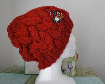 Red Cable Hat w/swan brooch