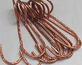"Hand Hammered Copper ""g""  Pot Rack Hooks (set of 8). New ""g"" hook product."