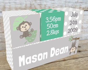 Personalized Wooden Name Birth Blocks Custom Made Monkey Design