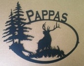 Bull Elk with Trees and Custom Name Sign (F26)