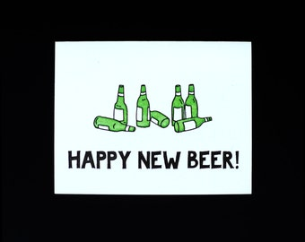 Happy New Beer! letterpress card
