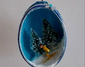 I'd Rather Be Skiing Winter Chicken Egg Shell Ornament